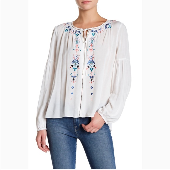Parker Tops | Embroidered Peasant Blouse White Sz S | Poshma