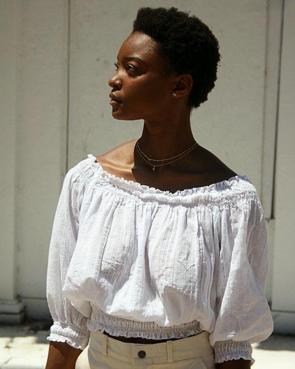 Vintage 70s Cotton Gauze Peasant Blouse - White | Garmento