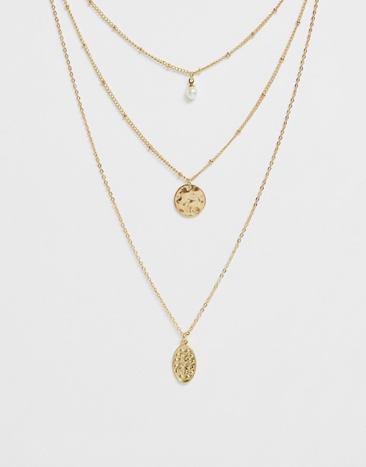 Ashiana gold multi layered pendant necklace with pearl | AS