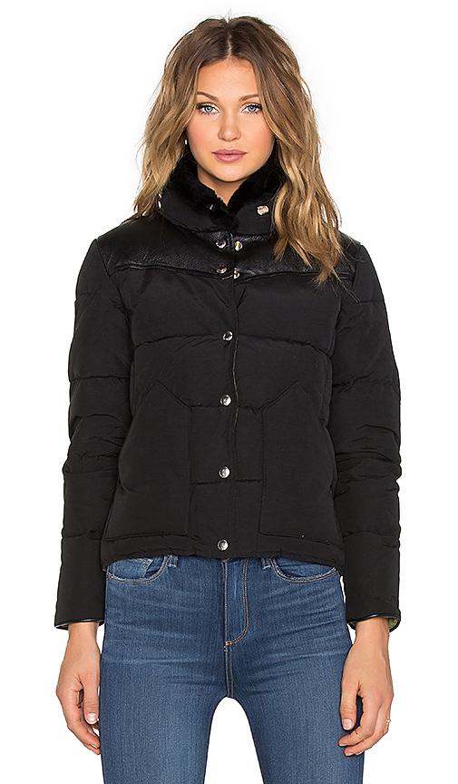 Penfield Rockwool Leather Yoke Down Jacket in Black | REVOL