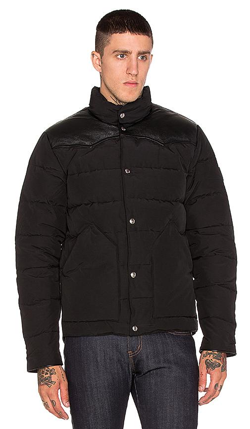 Penfield Pelam Leather Yoke Down Jacket in Black | REVOL
