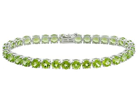 Green Peridot 14k White Gold Tennis Bracelet 16.83ctw - LLS365 .