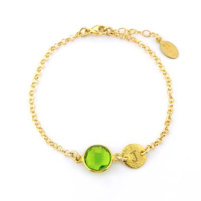 Personalized August Birthstone Bracelet - Peridot Bracelet .