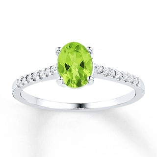 Peridot Ring 1/15 ct tw Diamonds Sterling Silver | Womens Rings .