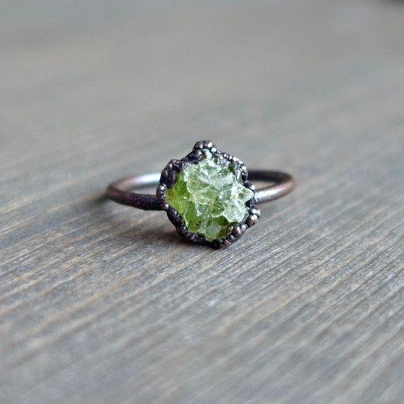 Raw peridot ring | Raw ring | Raw crystal ring | Peridot jewelry .