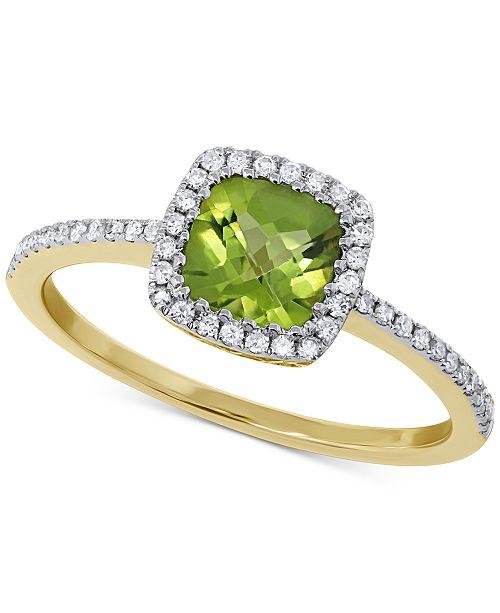 Macy's Peridot (1 ct. t.w.) & Diamond (1/5 ct. t.w.) Ring in 14k .