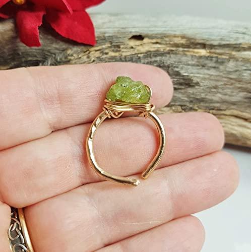 Amazon.com: Raw Peridot Ring ~ August Leo Birthstone Ring .