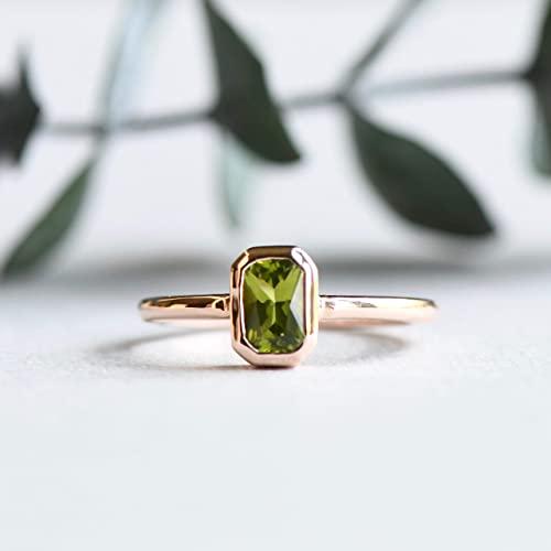 Amazon.com: 10k Solid Gold Peridot Ring, Statement Ring .