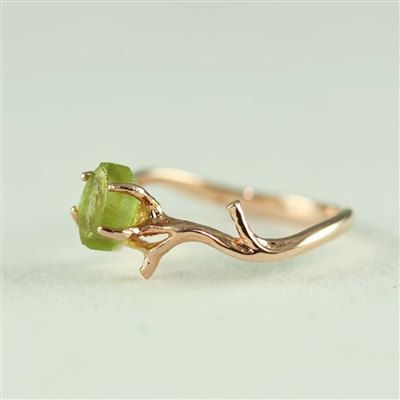 Unique Branch and Natural Peridot Ring- August Birthstone via Etsy .