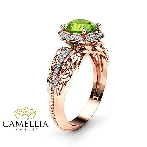 Amazon.com: Peridot Halo Engagement Ring 14K Rose Gold Peridot .