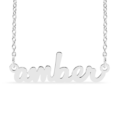Lowercase Script Name Necklace in Sterling Silver (1 Line .