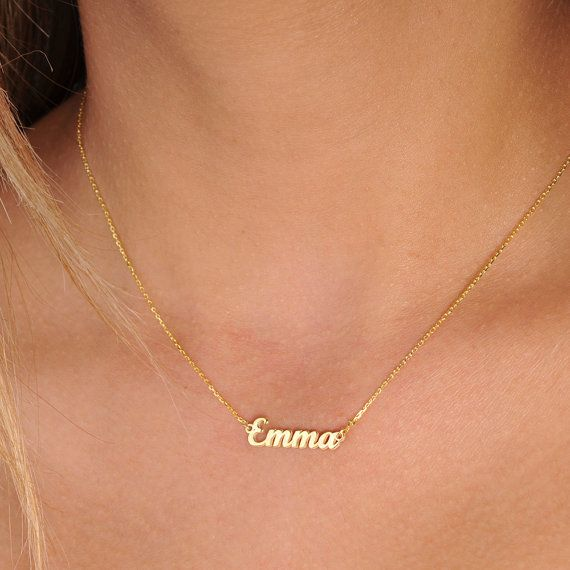 Tiny Gold Name Necklace-Name Necklace-Personalized Necklace .