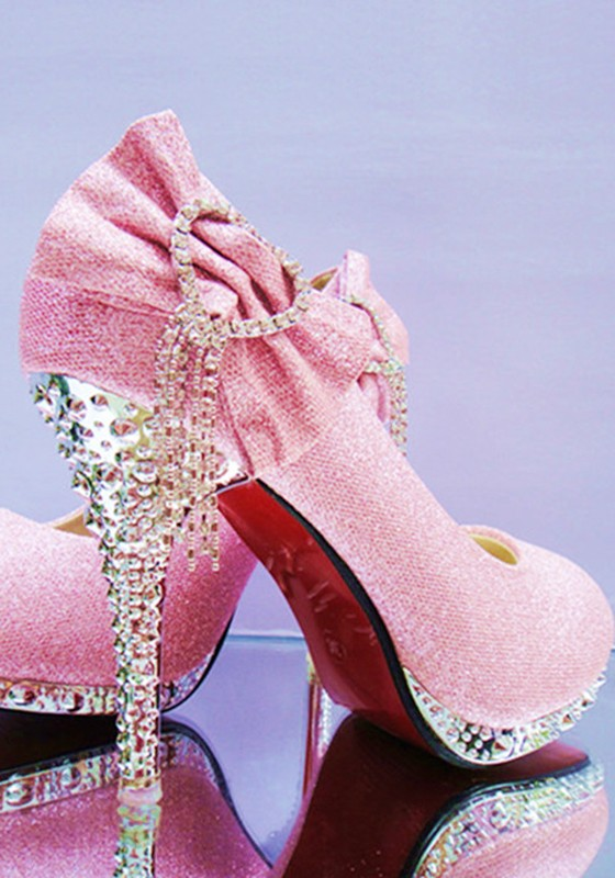 Pink Round Toe Stiletto Rhinestone Bow Fashion High-Heeled Shoes .