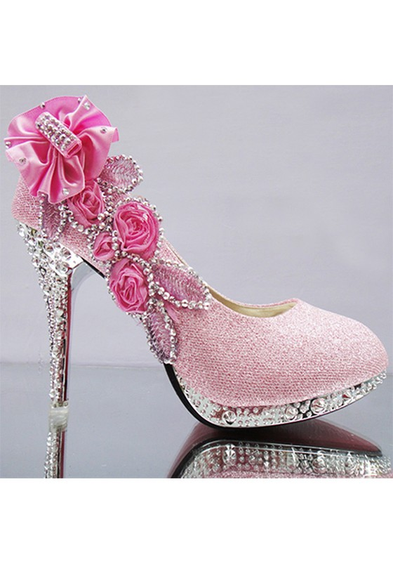 Pink Round Toe Stiletto Rhinestone Fashion High-Heeled Shoes .