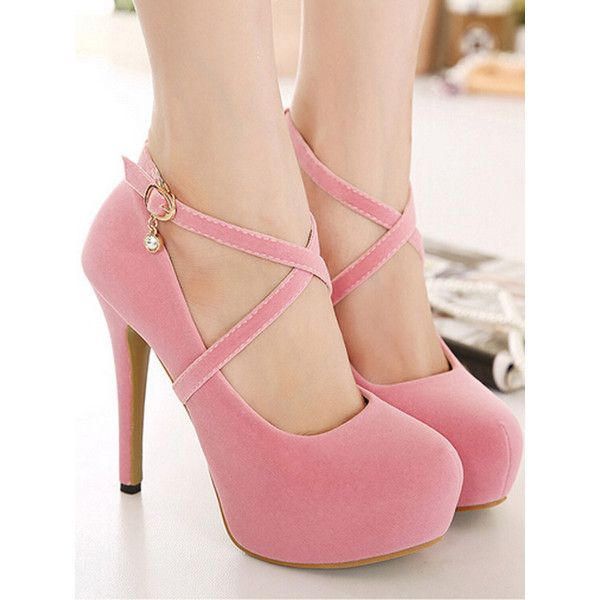 Pink Cross Strap Crystal Drop Platform High Heels ($61) ❤ liked .