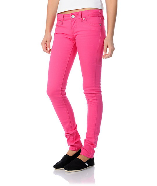 Almost Famous Tiffany Pink Skinny Jeans | Zumi
