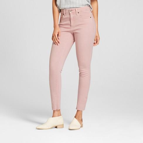 Women's High-Rise Raw Hem Skinny Jeans - Universal Thread™ Pink 18 .