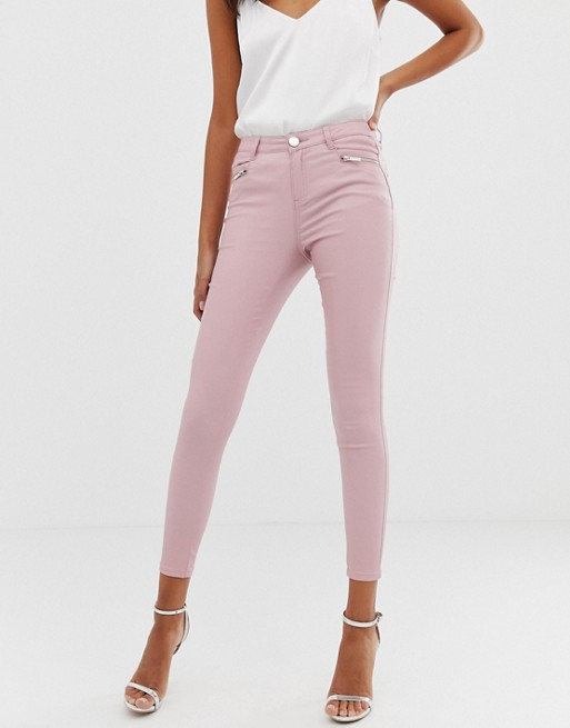 Lipsy coated skinny jeans in pink | AS