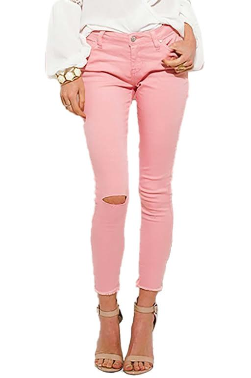 Blush Pink Ripped Knee Skinny Jeans – Pretty Missy In