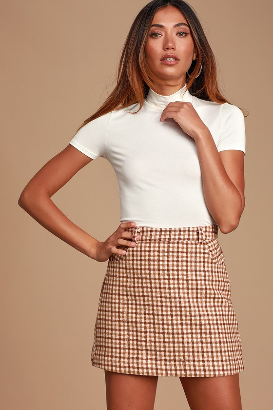 Chic Brown Plaid Skirt - Mini Skirt - A-line Skirt - Plaid Ski