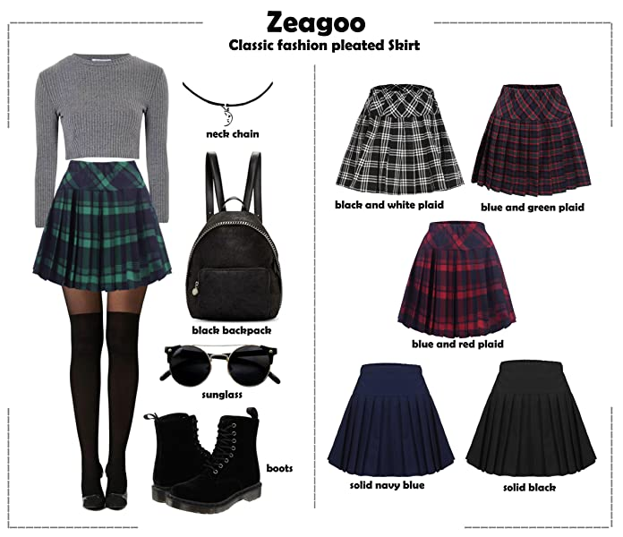 Zeagoo Women's Casual Tartan Elastic High Waist Pleated Plaid .