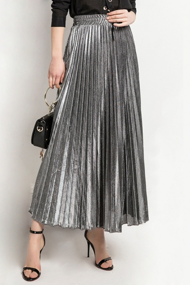 Mental Color High Waist Maxi Pleated Skirt - takeluckhome.c
