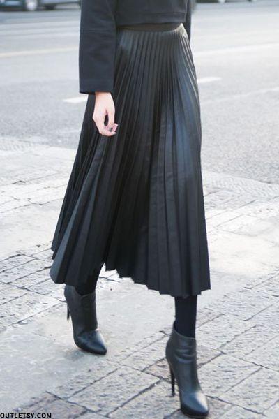 Pleated Leather Skirts … | Leather pleated skirt, Long leather ski