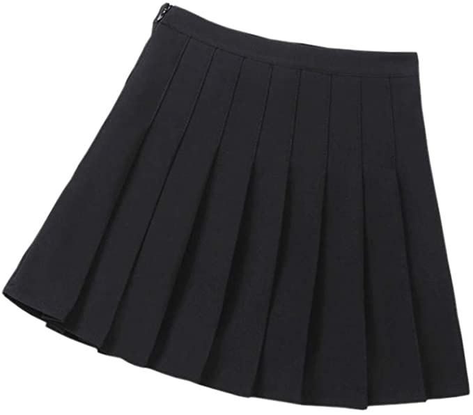 Amazon.com: Hwafan Little Girls High Waist Pleated Skirts Solid .