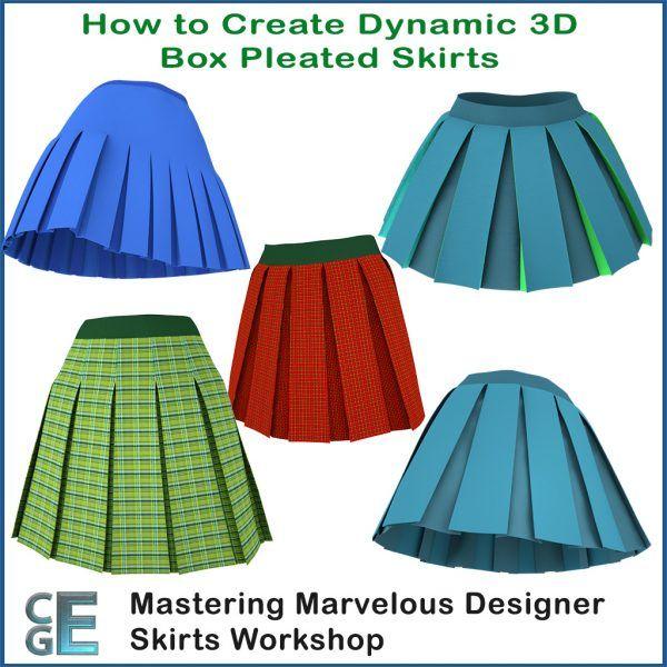 MD132 - Marvelous Designer Box Pleated Skirts Workshop .