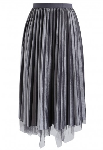 Mix and Match Velvet Mesh Pleated Skirt in Grey - Retro, Indie and .