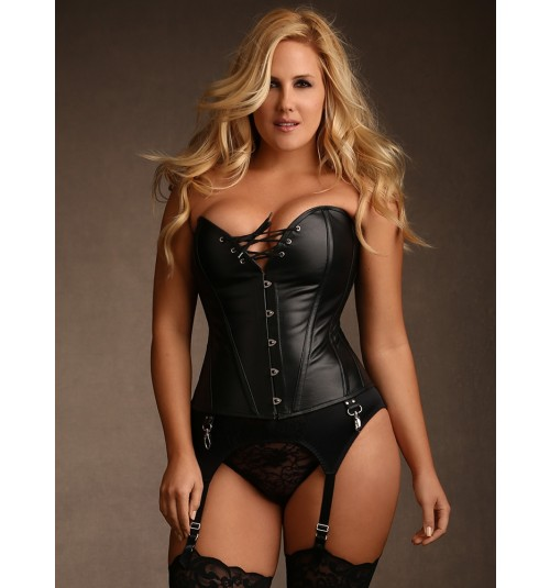 Plus Size Jules Steel Boned Black Leather Cors
