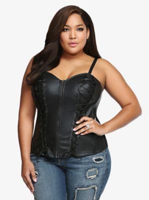 Tripp Faux Leather Lace-Up Corset Top | Plus size corset tops .