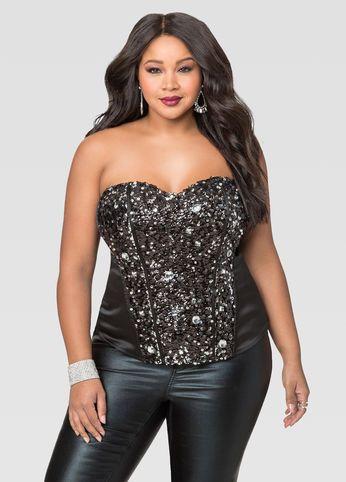 Embellished Sequin Rhinestone Corset | Fashion, Plus size corset .