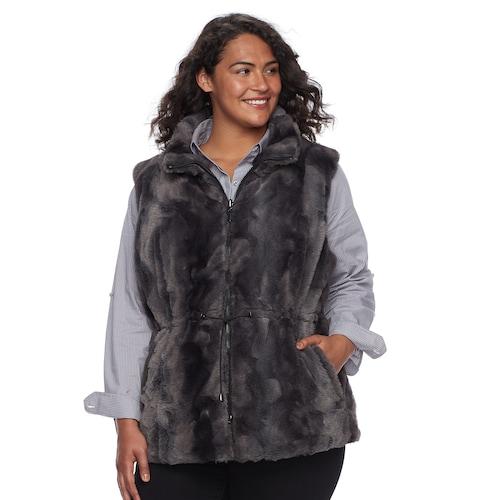 Plus Size Gallery Reversible Faux-Fur Ve