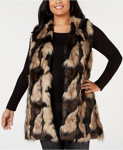 Joseph A Plus Size Faux-Fur Open-Front Vest & Reviews - Sweaters .