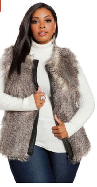 vest, faux fur vest, plus size coat, coat - Wheretog