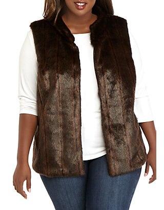 THE LIMITED Plus Size Faux Mink Vest | be