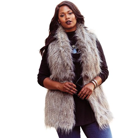 Roaman's - Roaman's Plus Size Faux Fur Vest Coat - Walmart.com .