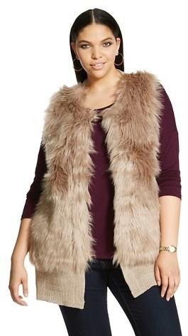 Cliche Plus Size Faux Fur Sweater Vest Tan Clich, $64 | Target .