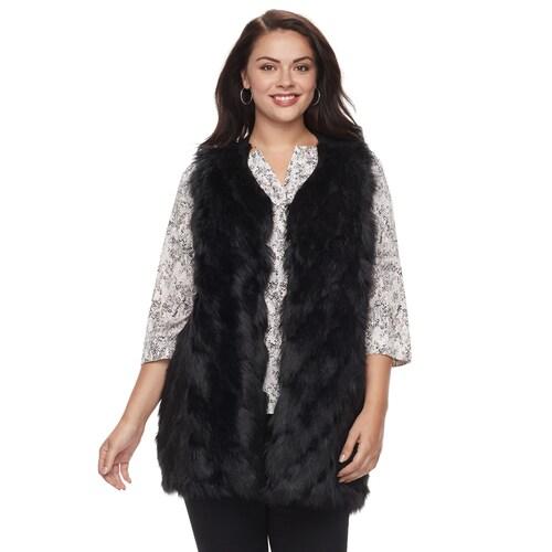 Plus Size Napa Valley Faux-Fur Ve