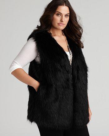DKNYC Plus Size Black Faux Fur Vest | Bloomingdale