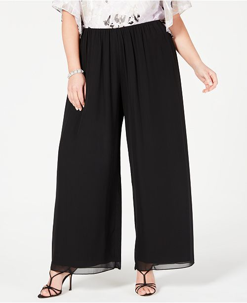 Alex Evenings Plus Size Wide-Leg Chiffon Pants & Reviews - Pants .
