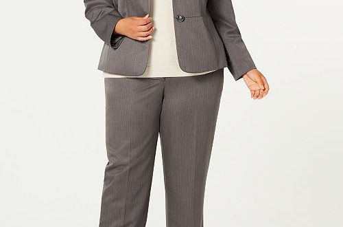 Le Suit Plus Size Pinstripe Two-Button Pant Suit & Reviews - Wear .