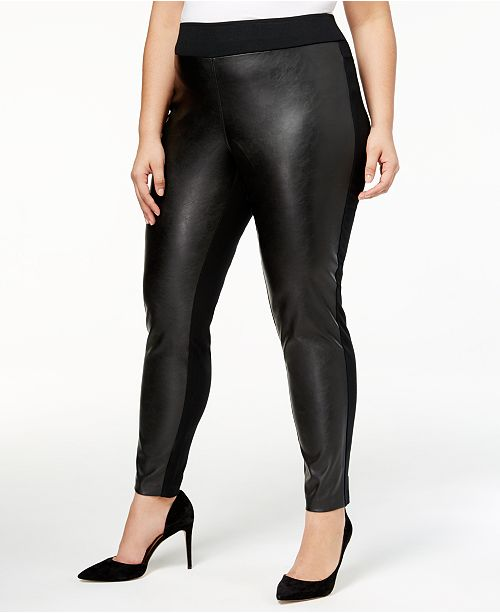 INC Plus Size Faux-Leather Front Skinny Pants, Created for Macy