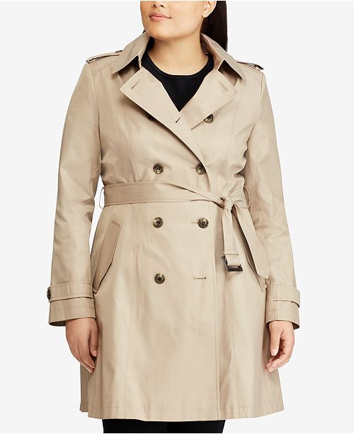 Lauren Ralph Lauren Plus Size Double Breasted Trench Coat, Created .
