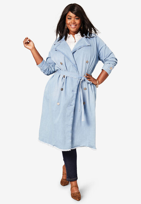 Denim Trench Coat| Plus Size Trench & Raincoats | Roaman