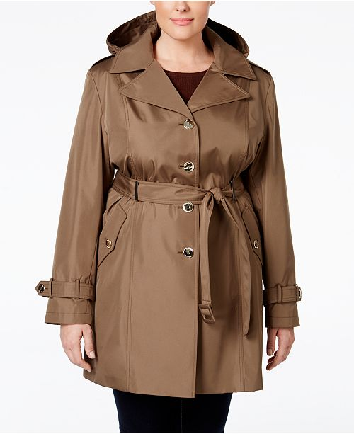 Calvin Klein Plus Size Hooded Single-Breasted Trench Coat .