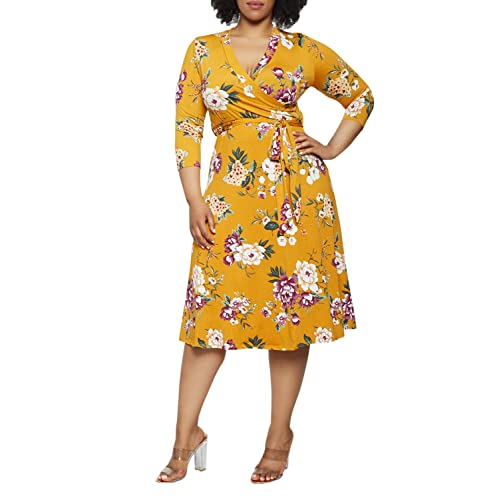 Plus Size Wrap Dress: Amazon.c