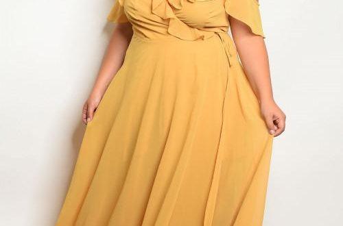 Yellow Ruffled Plus Size Wrap Dress Maxi Dress – Diva's Plus Size .