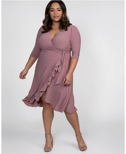 Kiyonna Women's Plus Size Whimsy Wrap Dress & Reviews - Dresses .